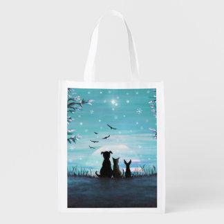 Cat and dogs Winter Sunset Reusable Grocery Bag
