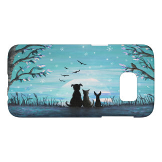 Cat and dogs Winter Sunset Samsung Galaxy S7 Case