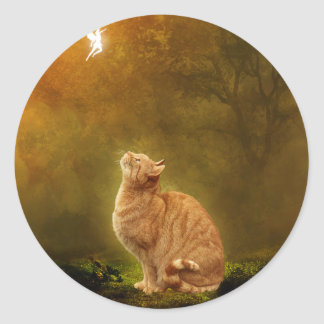 Cat And Fairy Classic Round Sticker