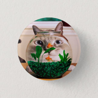 Cat and fish - cat - funny cats - crazy cat 1 inch round button