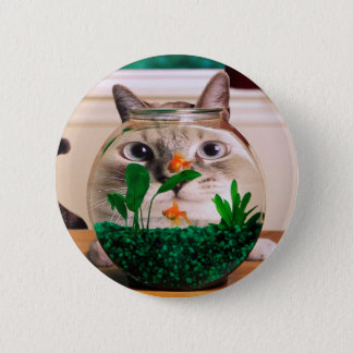 Cat and fish - cat - funny cats - crazy cat 2 inch round button