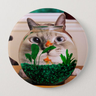 Cat and fish - cat - funny cats - crazy cat 4 inch round button