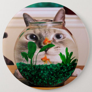 Cat and fish - cat - funny cats - crazy cat 6 inch round button