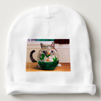 Cat and fish - cat - funny cats - crazy cat baby beanie