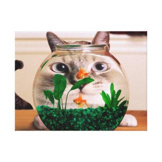 Cat and fish - cat - funny cats - crazy cat canvas print