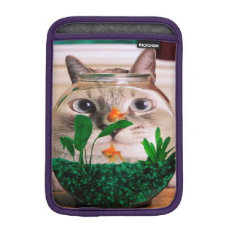 Cat and fish - cat - funny cats - crazy cat iPad mini sleeve
