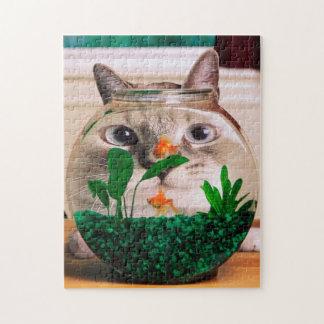 Cat and fish - cat - funny cats - crazy cat jigsaw puzzle
