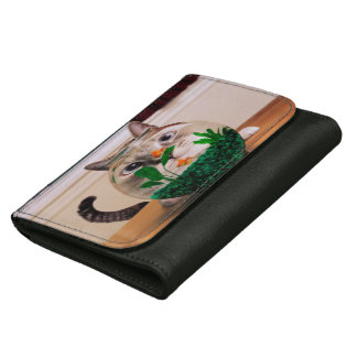 Cat and fish - cat - funny cats - crazy cat leather wallets