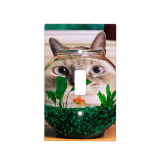 Cat and fish - cat - funny cats - crazy cat light switch cover