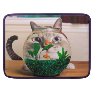 Cat and fish - cat - funny cats - crazy cat sleeve for MacBooks
