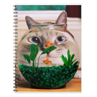 Cat and fish - cat - funny cats - crazy cat spiral notebook