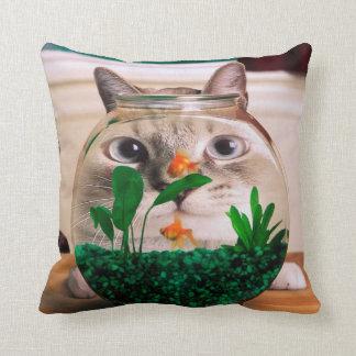 Cat and fish - cat - funny cats - crazy cat throw pillow