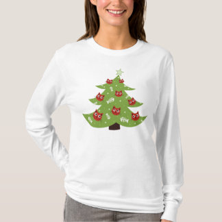 Cat And Fish Ornaments Christmas Tree Long Sleeve T-Shirt