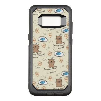 cat and fish pattern OtterBox commuter samsung galaxy s8 case