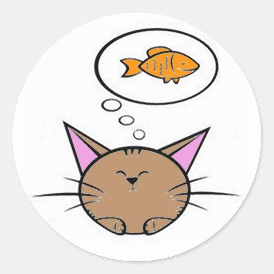 cat and fish round sticker