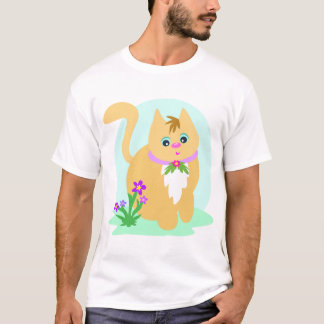 Cat And Flowers Mens T-Shirt