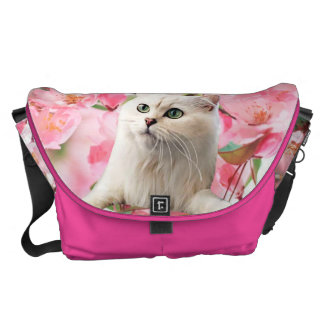 Cat and Flowers Messenger Bag