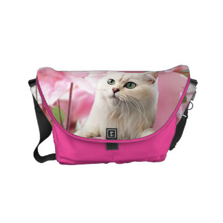Cat and Flowers Messenger Bags