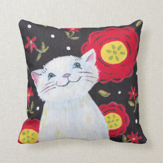 Cat and Flowers pillow