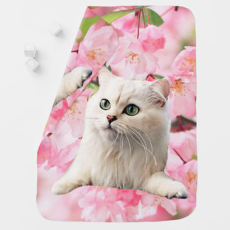 Cat and Flowers Receiving Blankets
