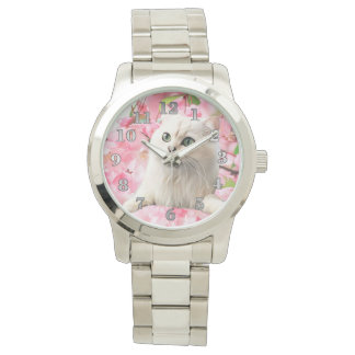 Cat and Flowers Wristwatch