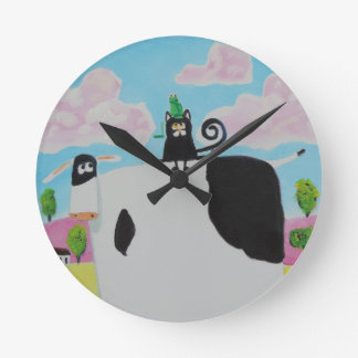cat and frog on a cow painting Gordon Bruce art Round Clock