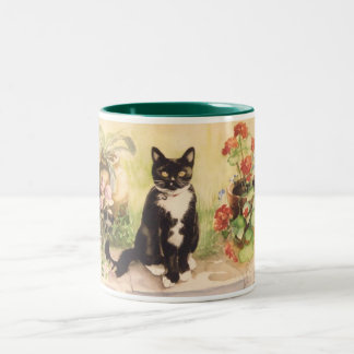 cat and geraniums Two-Tone coffee mug