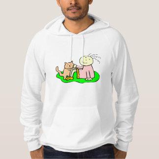 Cat And Girl Hooded Sweatshirt