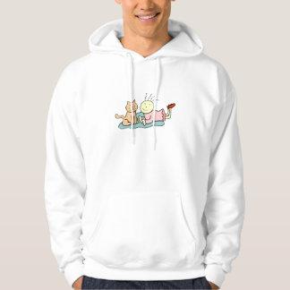 Cat And Girl Hooded Sweatshirts