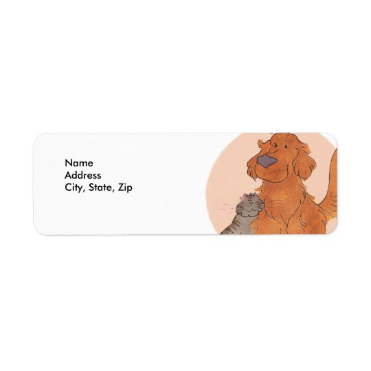 Cat and Golden Retriever / Return Address Labels