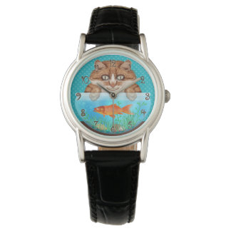 Cat and Goldfish Bowl Funny Hungry Grinning Kitty Wrist Watches
