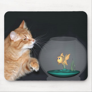 cat and goldfish mouse pad