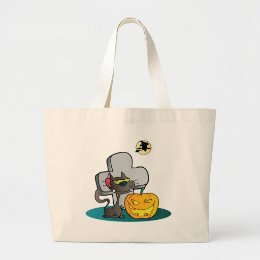 Cat and Halloween Pumpkin Winking Canvas Bags