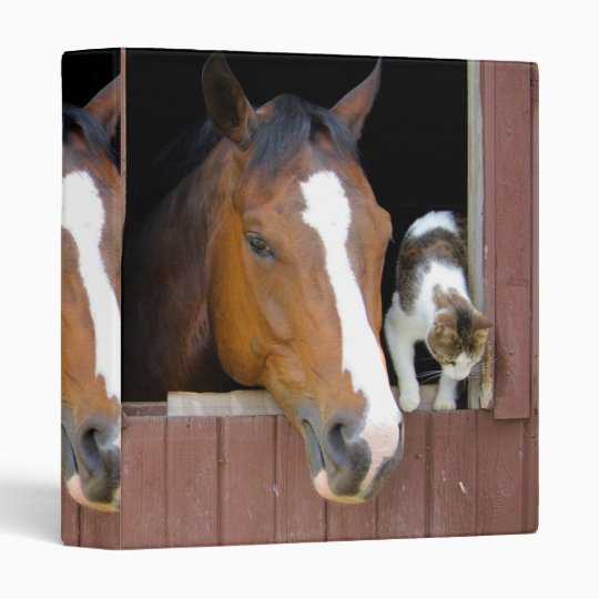 Cat and horse - horse ranch - horse lovers 3 ring binder