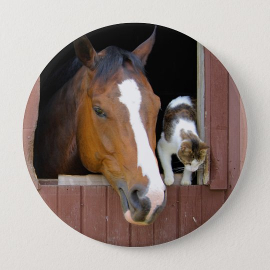 Cat and horse - horse ranch - horse lovers 4 inch round button