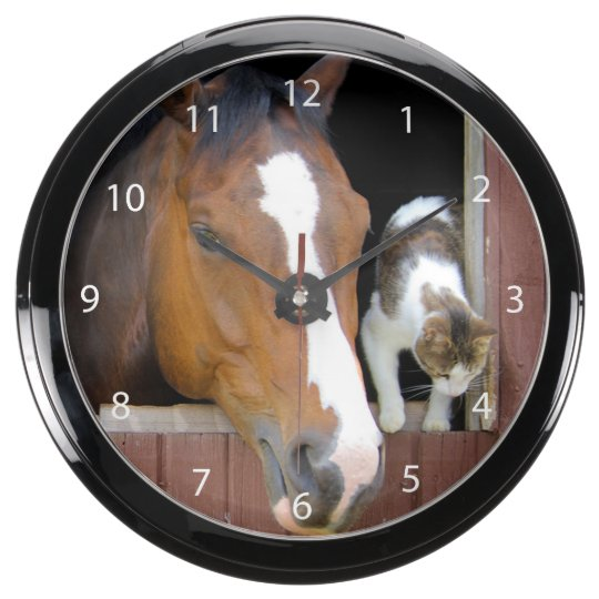 Cat and horse - horse ranch - horse lovers aqua clock