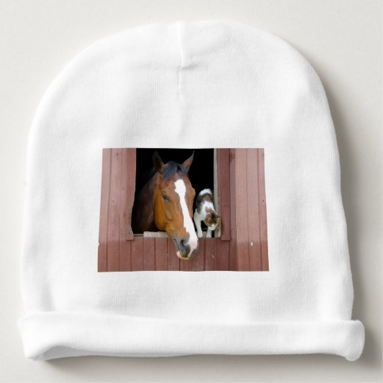 Cat and horse - horse ranch - horse lovers baby beanie