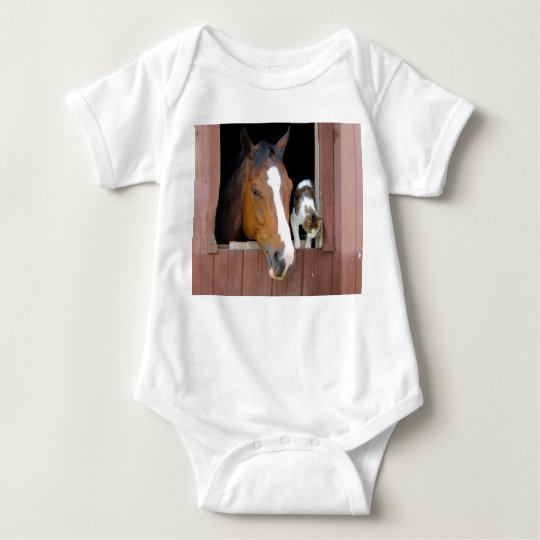 Cat and horse - horse ranch - horse lovers baby bodysuit