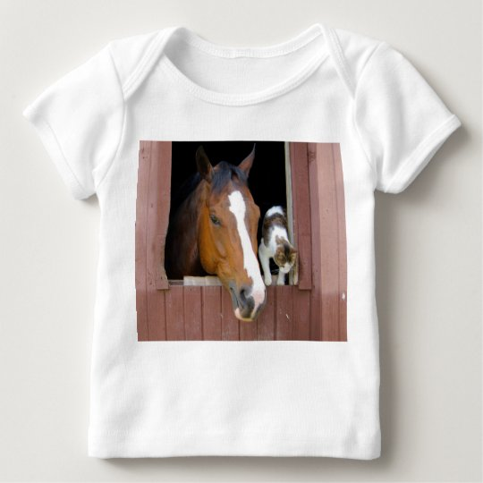 Cat and horse - horse ranch - horse lovers baby T-Shirt
