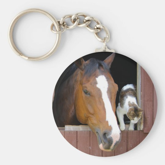 Cat and horse - horse ranch - horse lovers basic round button keychain