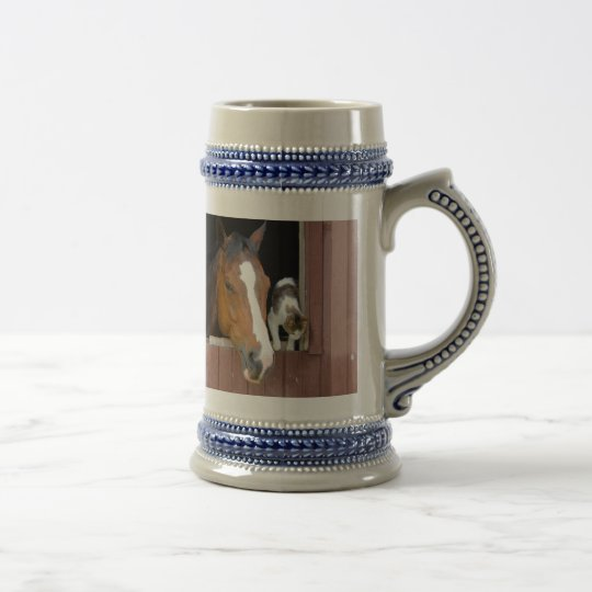 Cat and horse - horse ranch - horse lovers beer stein