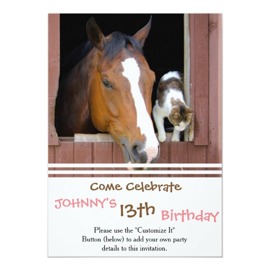 Cat and horse - horse ranch - horse lovers card