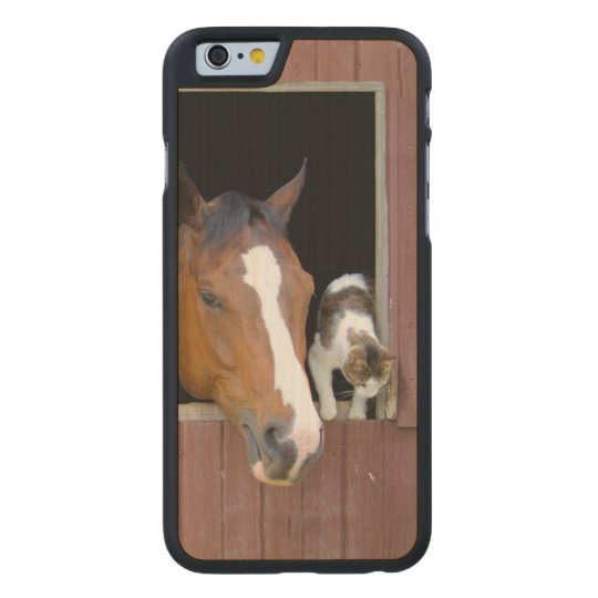 Cat and horse - horse ranch - horse lovers carved maple iPhone 6 case