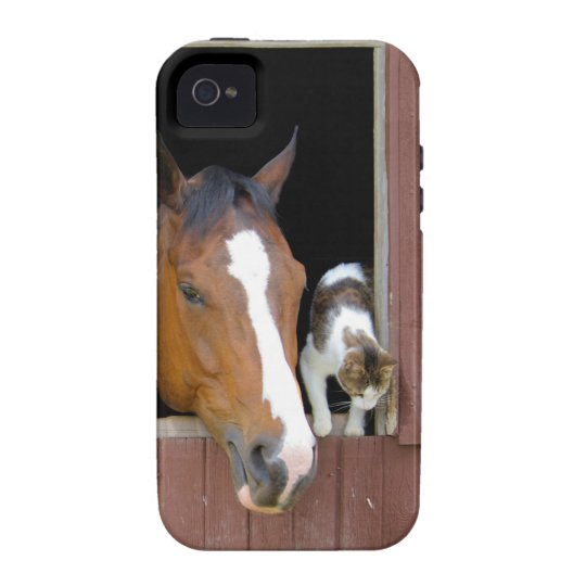 Cat and horse - horse ranch - horse lovers Case-Mate iPhone 4 cover