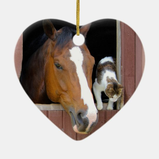 Cat and horse - horse ranch - horse lovers ceramic heart ornament