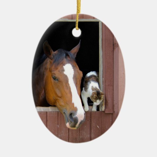 Cat and horse - horse ranch - horse lovers ceramic oval ornament