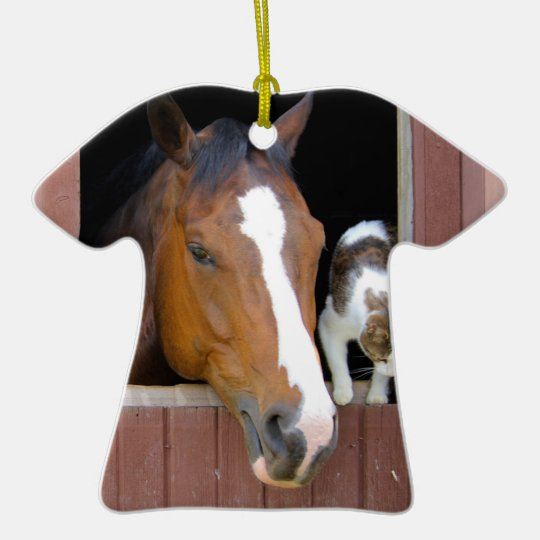 Cat and horse - horse ranch - horse lovers ceramic T-Shirt ornament