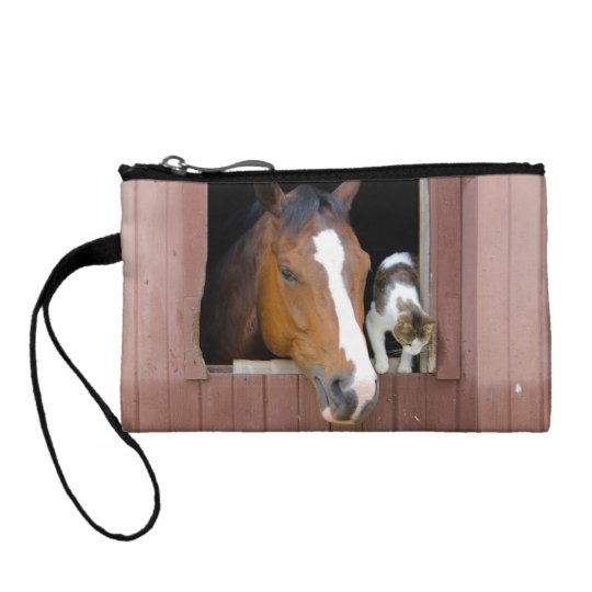 Cat and horse - horse ranch - horse lovers change purses