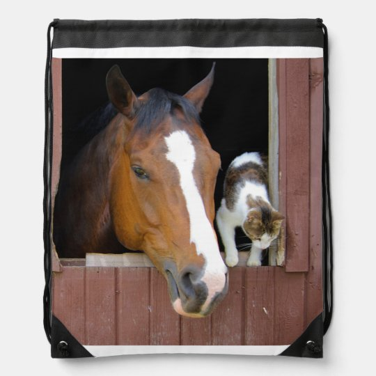 Cat and horse - horse ranch - horse lovers cinch bags