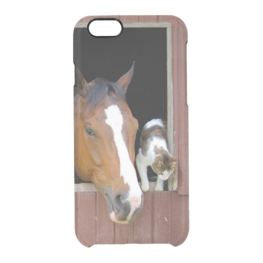 Cat and horse - horse ranch - horse lovers clear iPhone 6/6S case